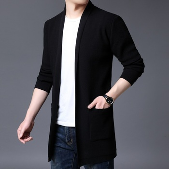 Autumn Winter New Cardigan Men Fashion 2020 Slim Fit Knitted Sweater Men Big Pocket Decor V Neck Men Casual Long Sweaters 5Color slimming v neck color splicing patch pocket long sleeves cardigan for men