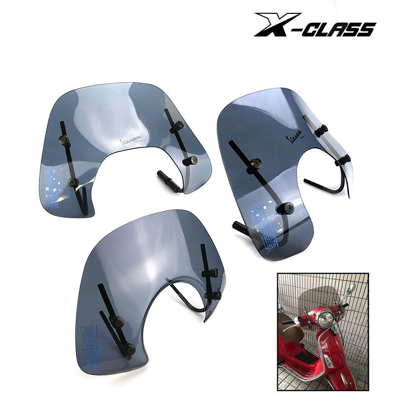 X-CLASS Motorcycle Clear Windscreen Front Windshield Bracket Sun Visor For Vespa Primavera 150 44.5x28cm