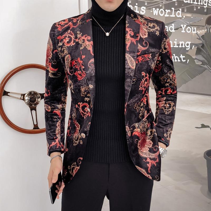 Luxury 2020 Paisley Floral Blazer 2 Button Wedding Party Prom Blazer Flower Men Pattern Velvet Suit Jacket Business Causal