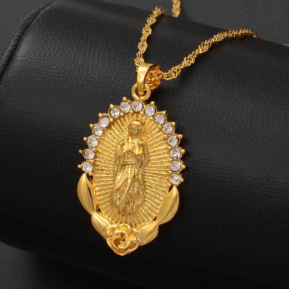 Anniyo סיטונאי מזל בתולה מרי תליוני שרשרת שרשראות נשים בנות, הנצרות תכשיטי שלנו גברת אלת #213606