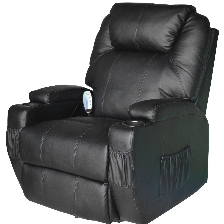 HOMCOM Chair Rocking Recliner Swivel 360 ° Massage Massage In Simipelle 84x92x109cm Black