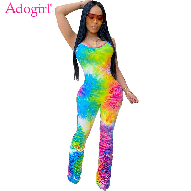 Adogirl Tie Dye Print Spaghetti Straps Jumpsuit Women Fashion Sexy Summer Sleeveless Romper Ruched Pants Tank Overalls