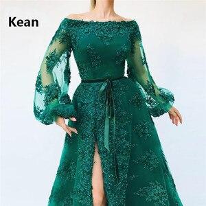 Image 4 - Emerald Green Muslim Evening Dress Slit Puff Sleeve vestido de festa Islamic Dubai Kaftan Saudi Arabic Evening Gown Prom Dress