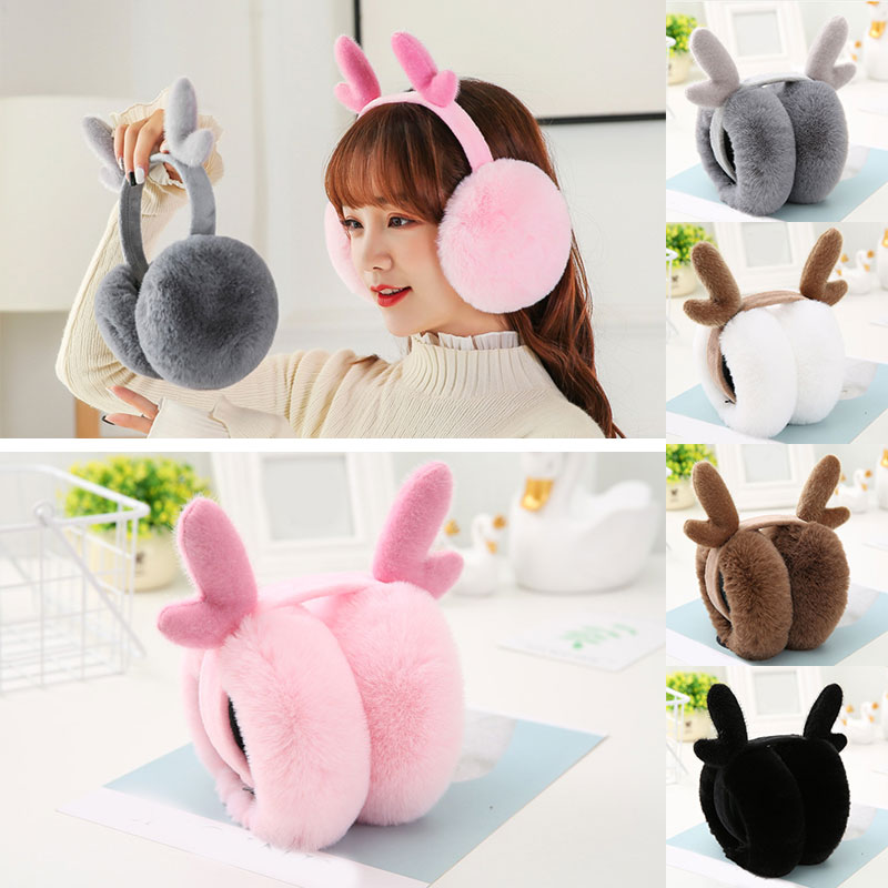 Women New Antlers Folding Earmuffs Winter Ear Warmer Soft Plush Fluffy Ear Cover Funny Girls Christmas Earmuffs White Pink Gray