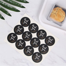 120pcs/lot Cute Black Round White Thank you Kraft Paper Seal Sticker packaging label Supplies
