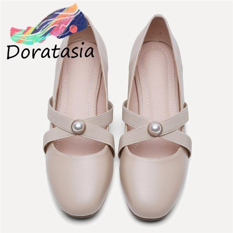 DORATASIA fille élastique bande perle décorations pompes Geuine cuir pompes femmes 2020 bout rond doux chaussures femme