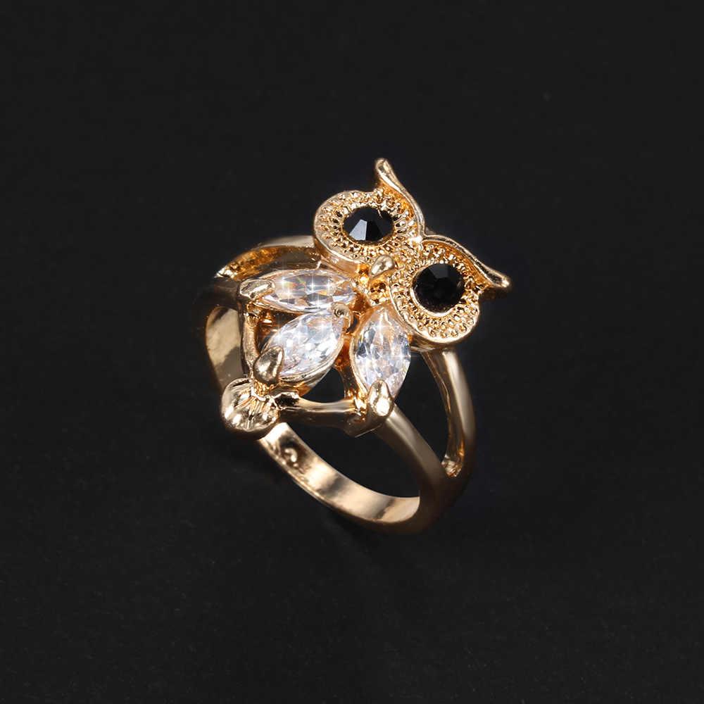 Sowa pierścień modna biżuteria dla zwierząt moda Glamour akcesoria zaprojektowane dla kobiet pierścienie Wedding Party złoty prezent dla dziewczyny