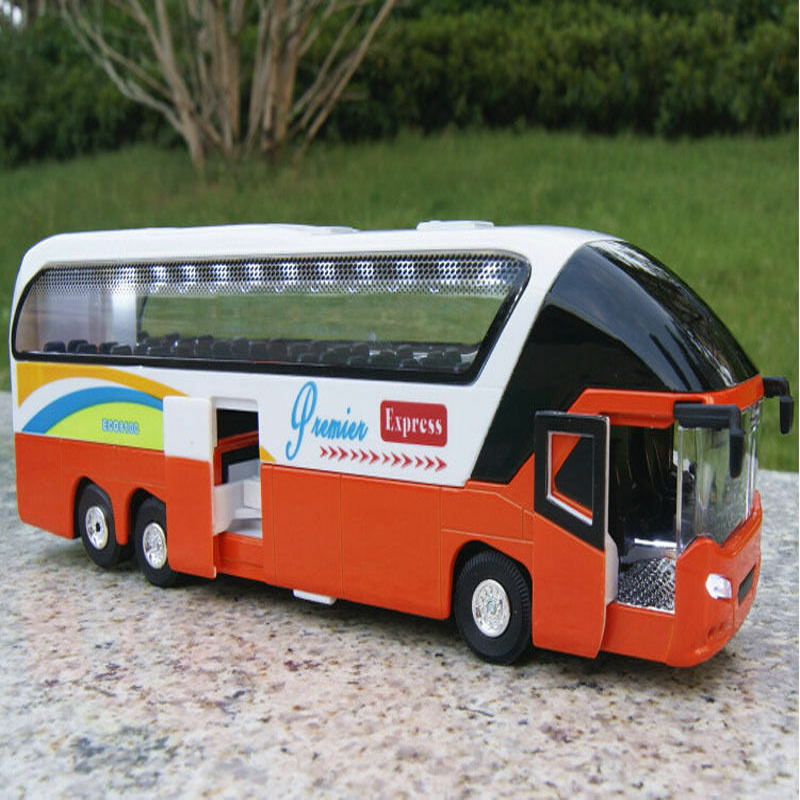 1/38 Scale Car Model Diecast Orange Passenger Bus With Light&Sound Double-deck Vehicle Toy