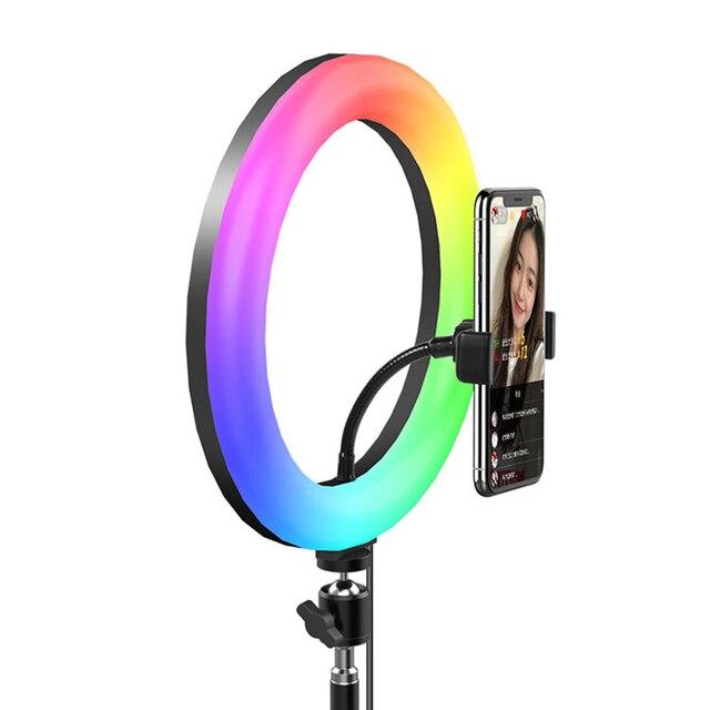 13 pouces 33cm LED Selfie rvb lumière annulaire avec trépied support téléphone coloré anneau lampe photographie lumières pour Youtube Tiktok Ringlight