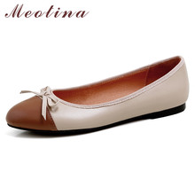 цена на Meotina Women Shoes Natural Genuine Leather Flats Shoes Bow Round Toe Ballet Flats Lady Footwear Summer Black Large Size 33-40