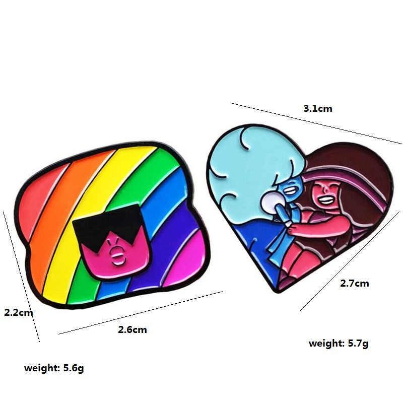 1PCs LGBT Pride Rainbow Heart Pinback ปุ่มเกย์เลสเบี้ยนสัญลักษณ์ PIN Love เท่ากับเครื่องแต่งกาย DIY Alpaca เย็บอุปกรณ์เสริม