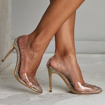 Fashion Rhinestones PVC Transparent Pumps Stilettos High Heels Point Toes Womens Party Golden Wedding High heels shoes jkm8