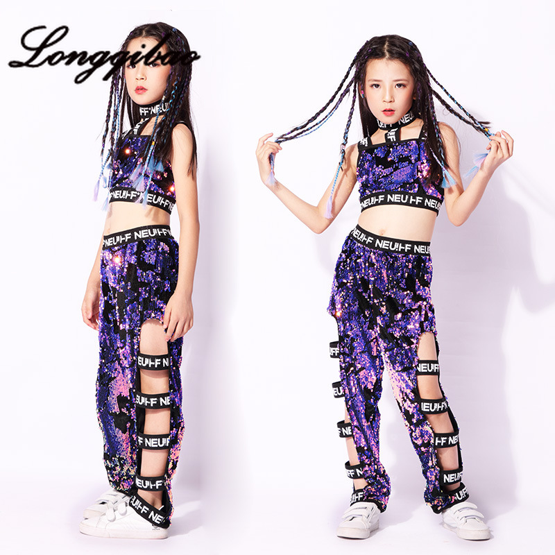 Baby children street dance jazz costume girls hiphop hip hop modern sequin dance performance clothing girl dance clothes