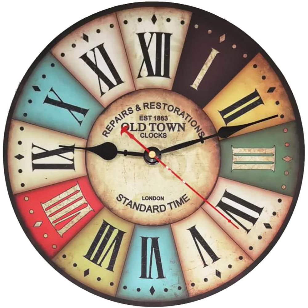 34cm Silent Wooden Wall Clock Retro Quartz  Large Vintage Rustic Shabby Colorful Non -Ticking Old Town Crown Roman Numerals