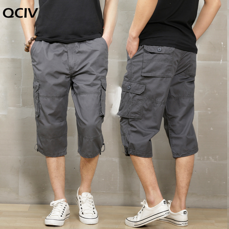 Summer Cargo Shorts Men Calf-length Pants New Casual Pants Mens Loose Outdoor Sports Cropped Trousers Plus Size Streetwear