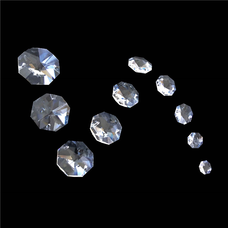 14mm 50pcs 2 Holes Clear Color Octagon Beads For Chandelier Garlands Prism Parts With K9 Crystal