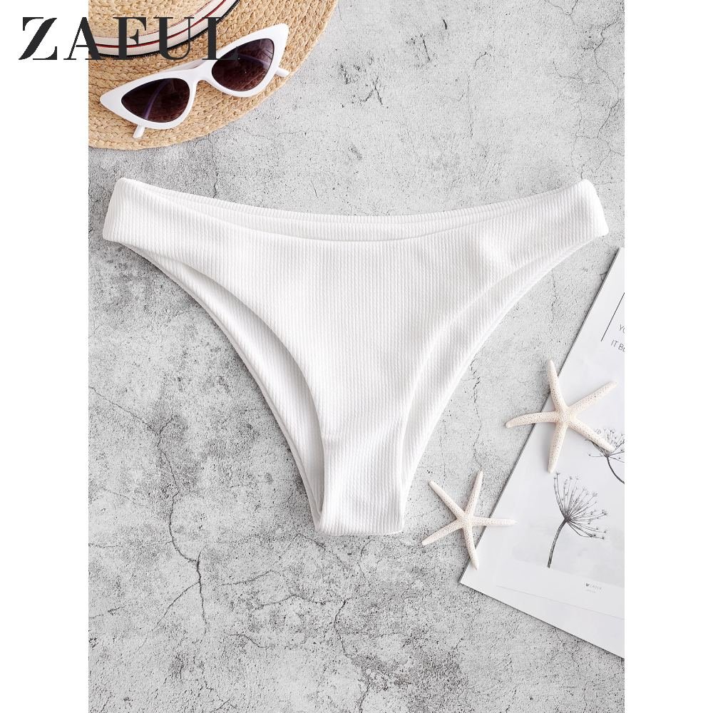 ZAFUL High Leg Ribbed Plain Bikini Bottom One Piece Swimsuit Panties Underwear Side Ties Brazilian Thong Ladies Short Bottoms