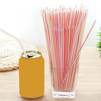100PCS/set 21cm Colorful Curved Plastic Drinking Straw Lounge Party Material Birthday PP Wedding Cocktail W9L3 image