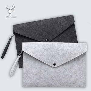 Simple Solid Wool Felt A4 File Folder Big Capacity Document Bag Simple Business Briefcase Paper Ipad Storage Bag Student Gifts