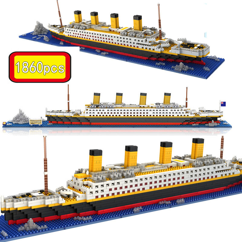 1860Pcs NO RS Game lepining Titanic Boat Cruise Ship Sets DIY Model Building Blocks Diamond Mini Kids Kit Kids Toys