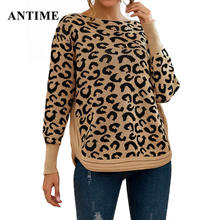 Antime Leopard Print Pullovers Women Casual O Neck Long Sleeve Ladies Tops Autumn Winter Warm Knitted Loose Sweater Jumper(China)