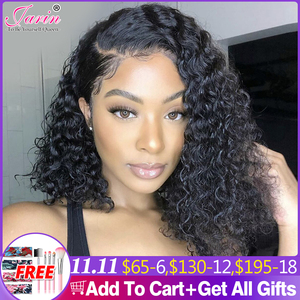 Image 1 - Kinky Curly 13x4 4x4 bob lace front wigs Human Hair Wigs Jerry Curly 100% Human Hair Wig Headband wigs perruque cheveux humain