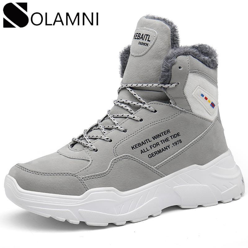 Winter High Top Sneakers Men Waterproof Platform Snow Boots Warm Plush Ankle Boots Mens Casual Shoes Outdoor Winter Botas Hombre image
