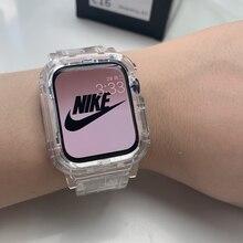 Bracelet + coque pour Apple Watch série 6 SE 5 4, 44mm 42mm, transparent pour iwatch 3 2 1 38mm 40mm, en plastique, nouvelle collection