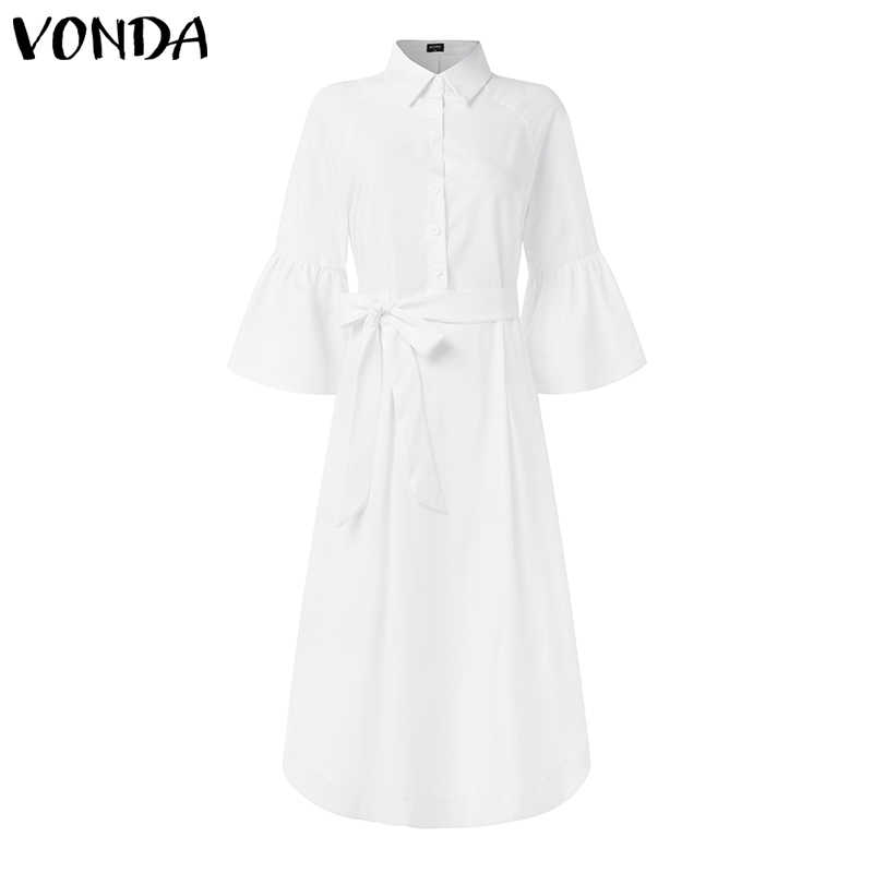 VONDA Bohemian parti elbise 2020 kadın Casual Turn Down boyun Flare kollu elbiseler artı boyutu plaj Sundress S-5XL Robe Femme