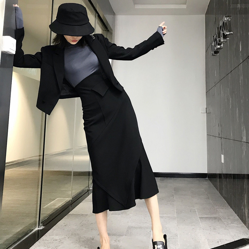 2 Piece Skirt Set Women Casual Two Piece Outfits Clothes Female Black Skirt Suit 2019 Fall Black Short Blazer With Long Skirt
