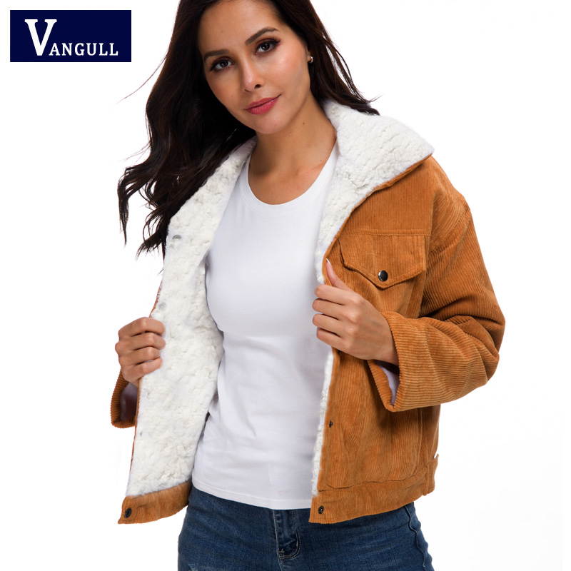 H3e9a5b9f53984480a5f72987d77a146ab VANGULL Women Winter Jacket Thick Fur Lined Coats Parkas Fashion Faux Fur Lining Corduroy Bomber Jackets Cute Outwear 2019 New