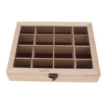 לא צבוע עץ מקרה אחסון תיבת תכשיטי חפצים ארגונית DIY בעבודת יד 16 תא