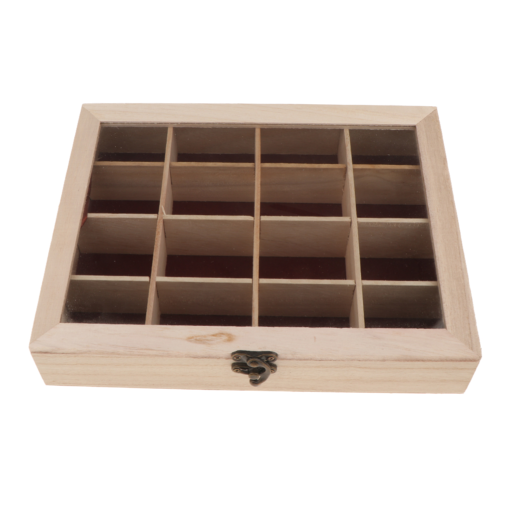 Unpainted Wooden Case Storage Box Jewelry Trinkets Organizer DIY Handmade 16 Compartment