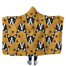 Cute Dogs Series Hooded Blanket 3D Printed Plush For Adults Kids Sherpa Fleece Warm Throw Home Travel Picnic