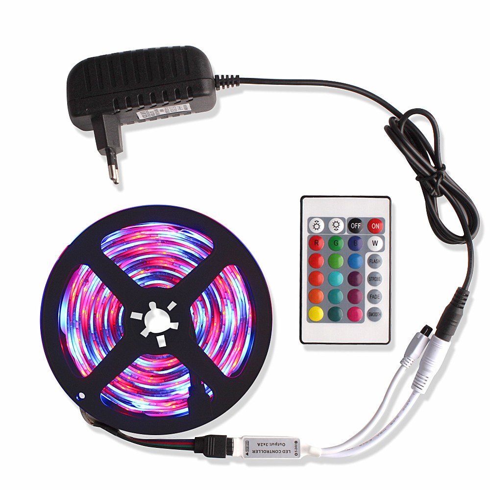 5M 2835 Music / Bluetooth RGB LED Strip Light Tiras Led DC 12V Waterproof Diode Tape Ribbon Fita Led + Remote Controller Adapter