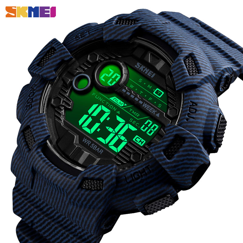 SKMEI Digital Watch Alarm-Clock Week-Display Cowboy Waterproof 1472 Men Fashion Denim