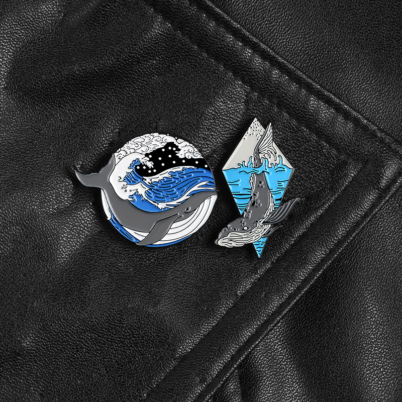 Ocean Grey <font><b>whale</b></font> Pins Blue Sea Raging Waves Enamel Pins Badge Collar Brooch Pin Lapel Clothes backpack Jewelry Gift Accessories image