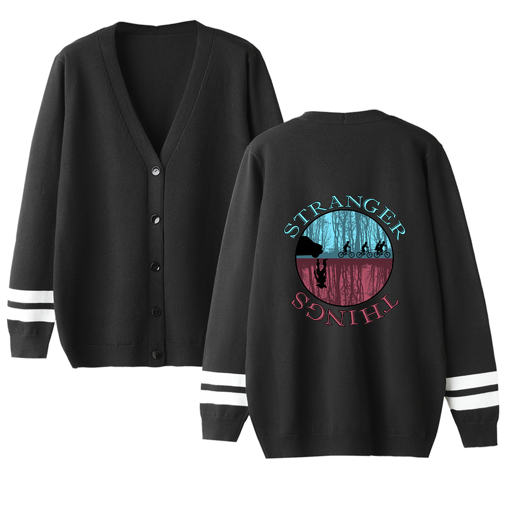 Stranger Things Cardigan Sweater Men/women Hot Fashion Casual V-neck Sweater Stranger Things Cardigan Sweater Black Casual Tops