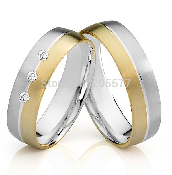 2014 classique bicolore fait à la main sona CZ pierre titane mariage bandes amoureux bagues de fiançailles pour femmes et hommes