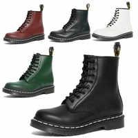 Botas de Mujer de piel auténtica, botas Martin al tobillo para Mujer, Zapatos informales de moto Dr., Zapatos de Otoño Invierno para parejas, Zapatos para Mujer