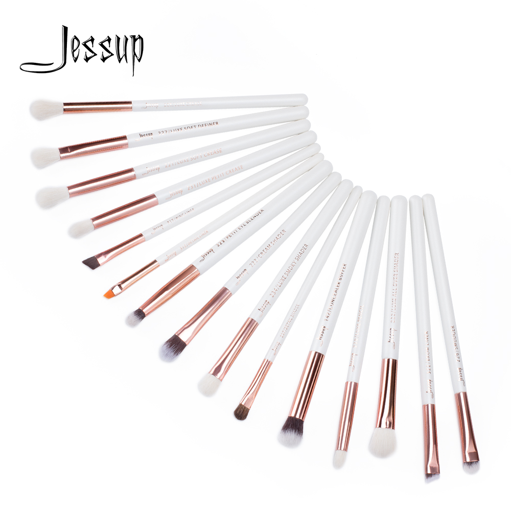 Jessup  Makeup Brushes Kit 15Pcs Pearl White/Rose Gold Pinceaux Maquillage Cosmetis Tools Eyeliner Shader Concealer Pencil T217