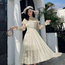 New 2019 Spring Autumn Women dress Flare Sleeve Patchwork Mesh Turtleneck Half A High-end French Lace Dresses Blue Apricot 9086