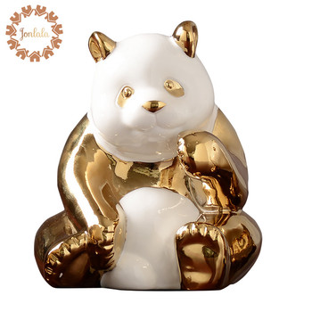 Hot Gold-plated  Cute Panda Family Porcelain Decoration Home Decorations Crafts Ceramic Crafts Electroplating Valentine's Gift