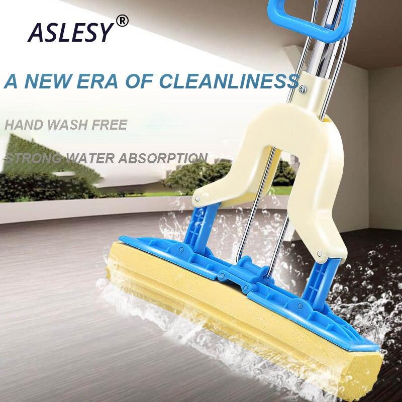 Strong Floor Mop Absorbent Sponge Mop Stainless Steel Handle Microfiber Pad Home Floor Cleaning Tool Home Bathroom Kitchen Clean