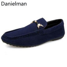 Danielman Men Autumn Casual Loafers Suede Leather Driving Mo
