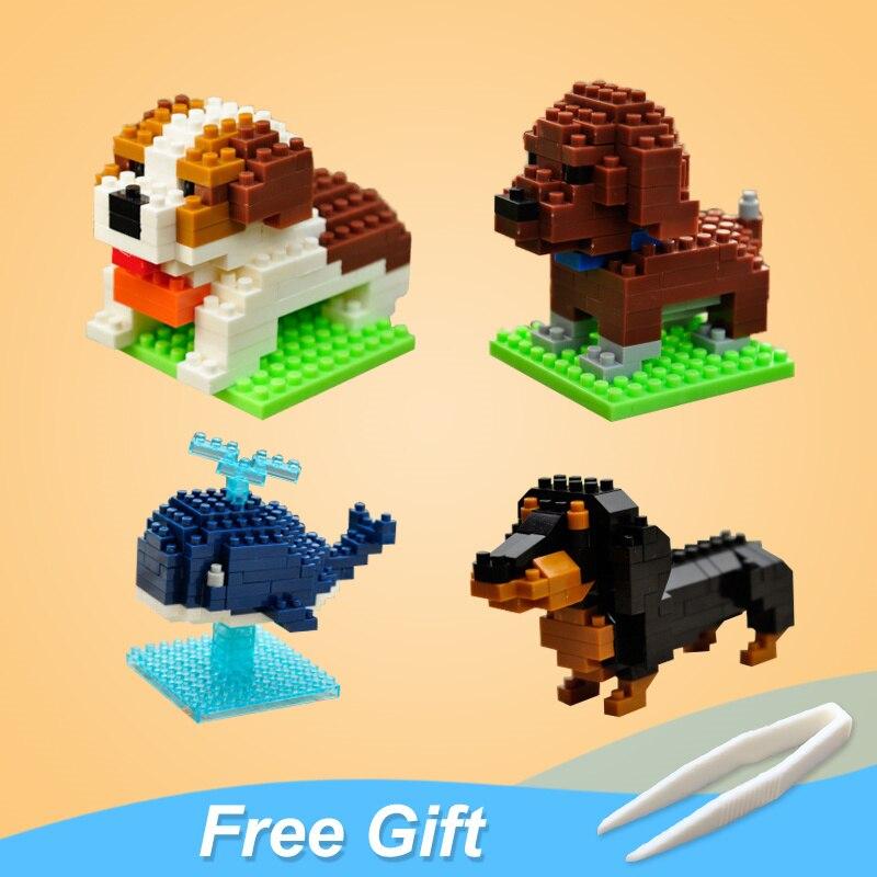 Animals Blocks Figures Dog Cat Parrot Model Mini Figurines Kids Toy For Children Girl Boy