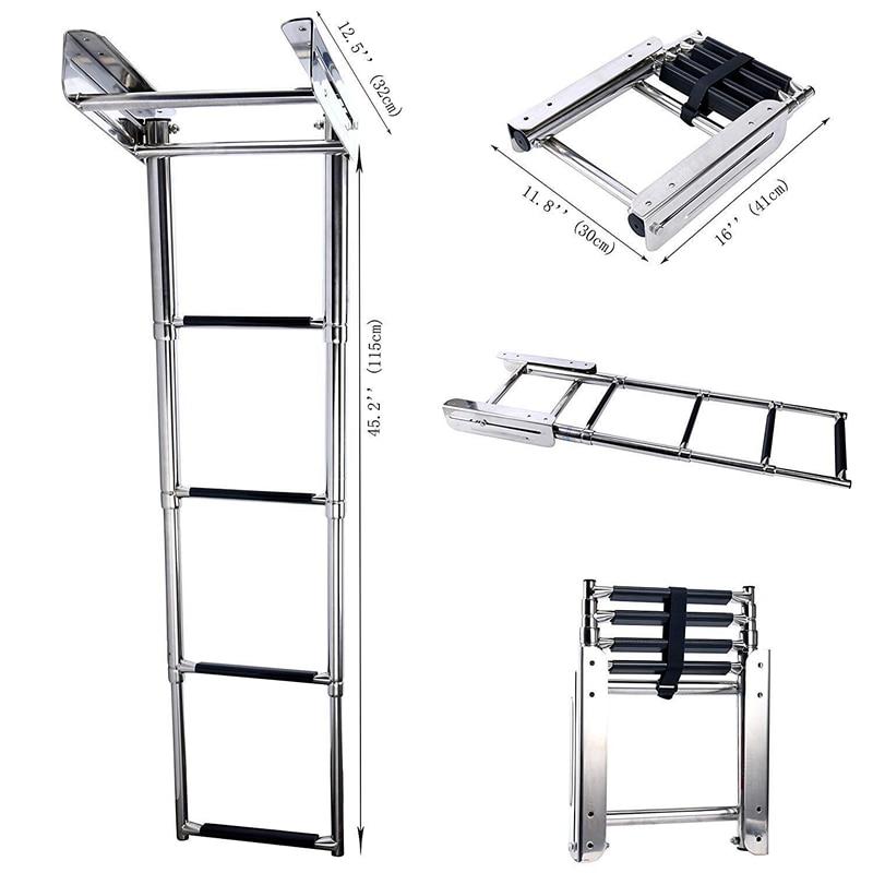 4-Step Stainless Steel Under Platform Slide Mount Boat Boarding Telescoping Ladder Boat Accessories Marine