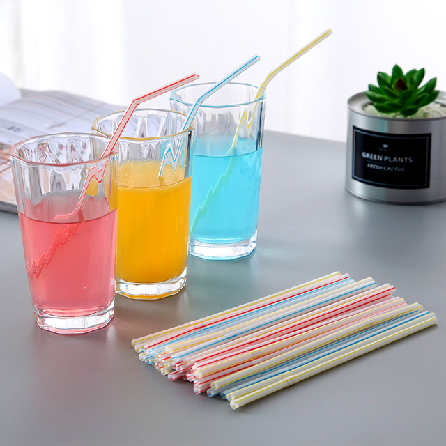 QDRR 300 Pack Disposable Straws Flexible Plastic Straws Striped Multi Color Rainbow Drinking Straws Bendy Straw Bar Accessories 3