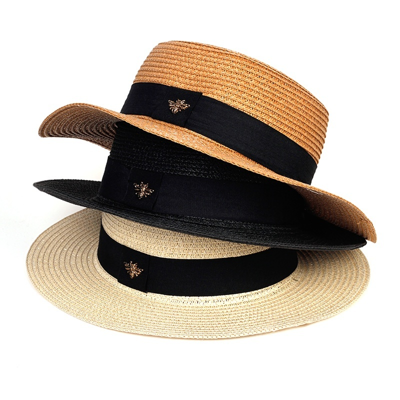 New Summer Ladies Casual Hat Hand-woven Foldable Soft Top Bucket Hats Outdoor Shade Beach Hat Fashion Unisex Wild Hats