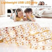 220V Led Waterproof Strip Light USB 5V Kitchen Night 110V EU US Plug Wardrobe Lamp Tape Striscia Flexible Ribbon